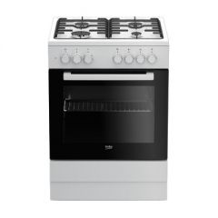 BEKO Cooker FSE62120DW 60 cm, Gaz/Electric, White color/black glass