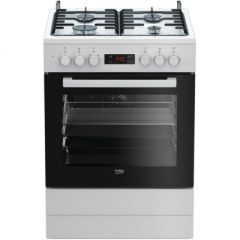 BEKO Cooker FSM62320DWS 60 cm, Gaz/Electric, White color/black glass, led screen